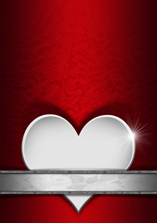 Stylized white heart on red texture with ornate floral seamless and floral plaque with silver frame   photo