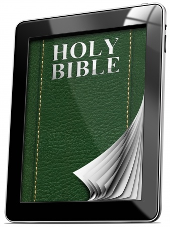 Tablet computer with pages and monitor and leather cover with the words Holy Bible