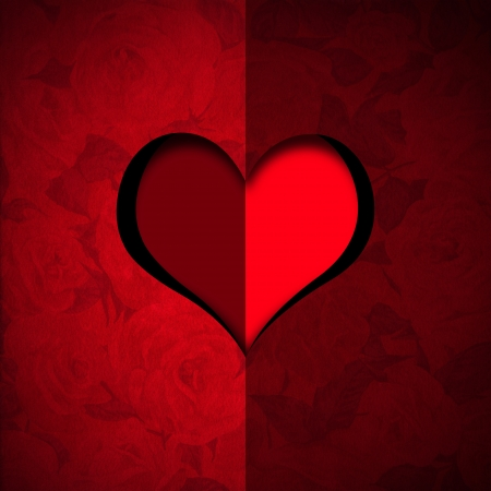 Red velvet roses background with a hole in the shape of heart with stylized heart photo
