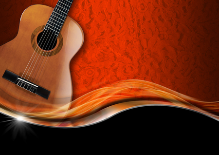 Acoustic Guitar on orange texture with ornate floral seamless with metal wave and black background photo