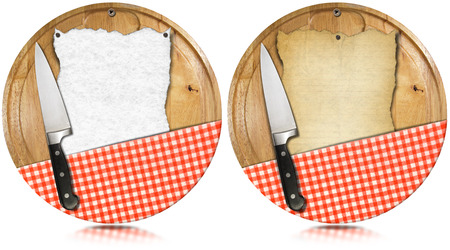 Two notebooks for recipes or menu on used wooden cutting boards with kitchen knife and red checked tablecloth photo