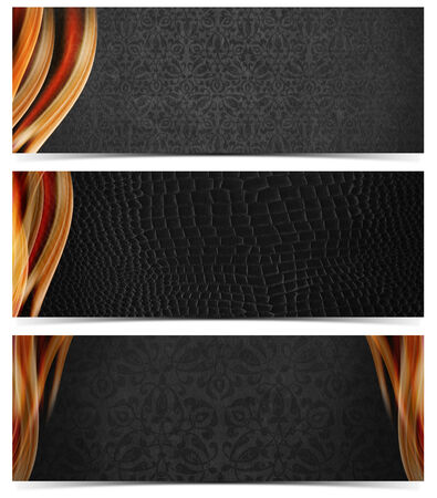 Set of three luxury banners or headers with gray floral texture and blurred waves  photo