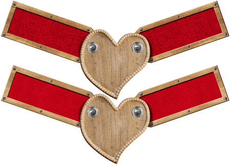 Two Handmade wooden hearts with two wood labels with red velvet interior  photo