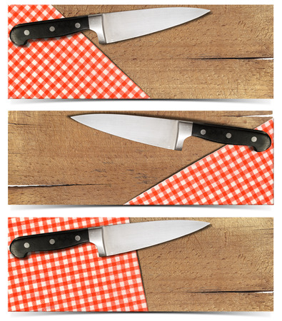 Three cooking banners with used cutting board, checked tablecloth and kitchen knife isolated on white   photo