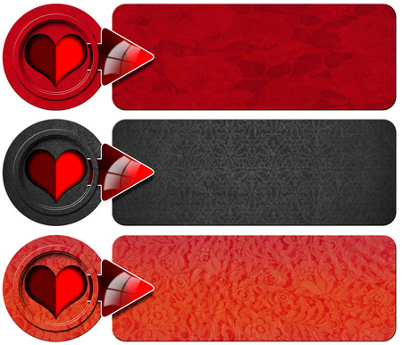 Set of three romantic banners with floral texture, stylized heart and red arrow photo