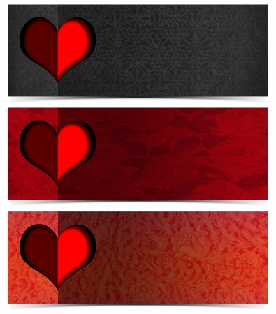 Set of three romantic banners or headers with floral texture and stylized heart  photo