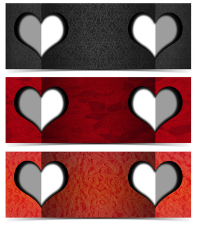 Set of three romantic banners or headers with floral texture and two stylized hearts photo