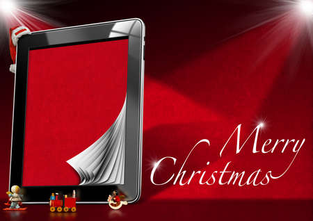 Tablet computer with red velvet pages, Christmas objects with word Marry Christmas on red velvet background  photo