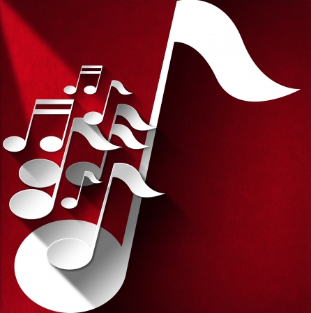music background: White and gray musical notes on red velvet background with shadows