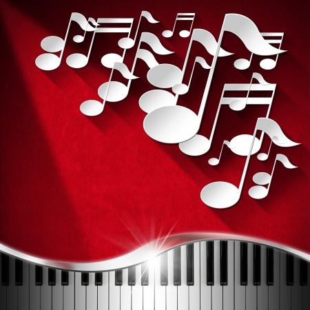 White musical notes and piano keyboard on red velvet background with shadows photo
