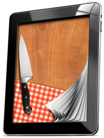 Black tablet computer with cutting board, red checked tablecloth and kitchen knife isolated on white   photo