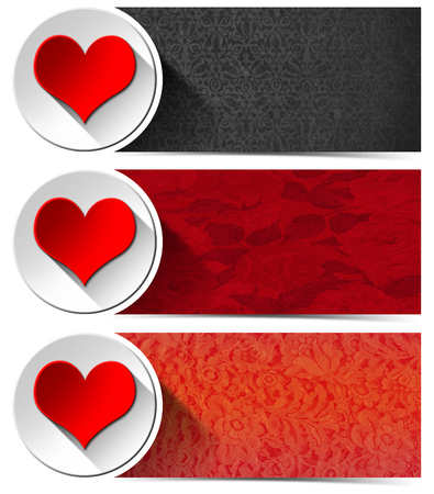 Set of three romantic banners with floral texture, stylized red heart and white circle  photo