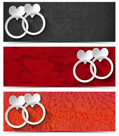 Set of three romantic banners with floral texture, stylized white hearts and wedding rings  photo