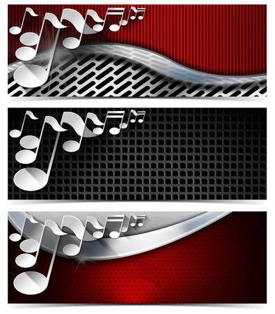 Set of three musical banners with metal texture and stylized white musical notes  photo