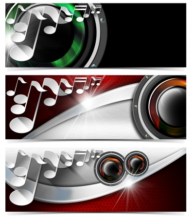 Set of three musical banners with metal texture, woofers and stylized white musical notes  photo