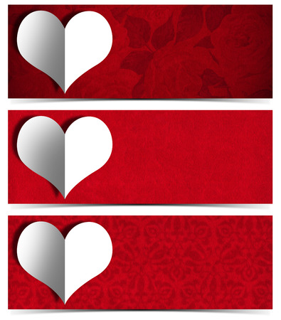 Set of three romantic banners or headers with stylized heart in white paper on red velvet background  photo