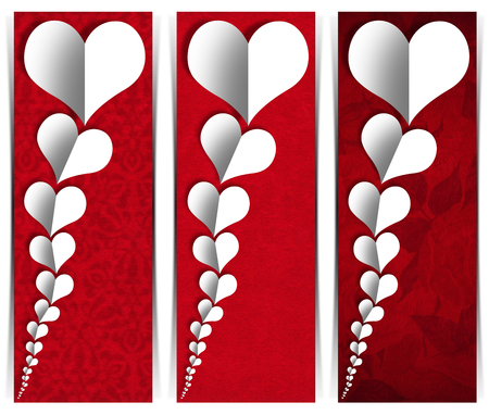 Set of three romantic banners or headers with many stylized hearts in white paper on red velvet background  photo