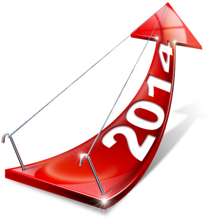 forecasts: Red arrow with year 2014 tending upwards, the concept of economic success