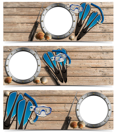 speargun: Set of spearfishing banners with metal empty porthole on wooden floor with sand, seashells, flippers, snorkel and mask for diving and spear gun