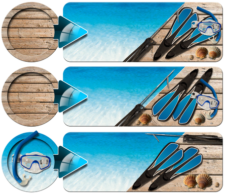 speargun: Set of spearfishing banners with blue water, wooden floor with sand, seashells, flippers, snorkel and mask for diving and spear gun