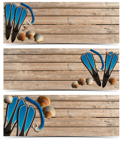 Set of three beach holidays banners with seashells, blue flippers and blue snorkel diving on wooden floor with sand  photo