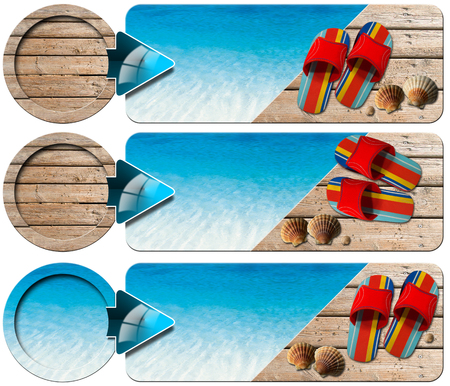 Sea holiday banners with blue water, wooden floor with sand, colored sandals, seashells and blue arrow  photo