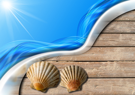 ocean floor: Two seashells on wooden floor with sand, stylized waves and sunlight, concept of summer vacations Stock Photo