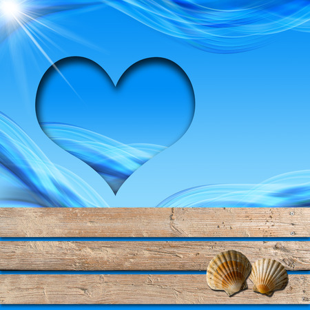 poolside: blue stylized waves on wooden walkway, seashells and blue hearth