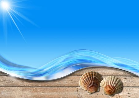 oceanic: Two seashells on wooden floor with sand, stylized waves and sunlight, concept of summer vacations Stock Photo