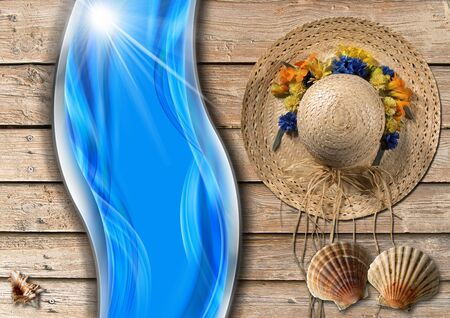 straw hat: Straw hat with flowers and seashells on wooden floor with sand, stylized waves and sunlight Stock Photo
