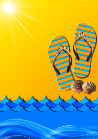 Blue and orange abstract with stylized waves and sunlight, flip flops sandals and seashells Stock Photo - 23834952