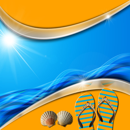 Blue and orange abstract with stylized waves and sunlight, flip flops sandals and seashells  Stock Photo - 23834967