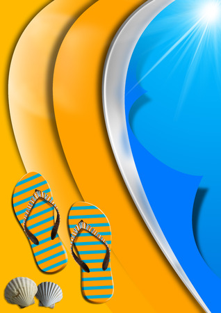 Blue and orange abstract with stylized waves and sunlight, flip flops sandals and seashells Stock Photo - 23834993