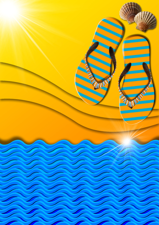 Blue and orange abstract background with stylized waves and sunlight, flip flops sandals and seashells, concept of summer vacations Stock Photo - 24036642