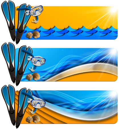 apnea: Set of three sea holiday banners with snorkeling equipment, seashells, stylized waves and orange beach, concept of summer vacations