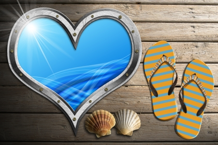 Metal porthole heart shape with stylized waves, on wooden floor with sand, flip flops sandals and two seashells Stock Photo - 24039913