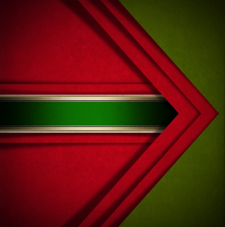 Red and green velvet background with geometric forms and green plaque Stock Photo - 24039916
