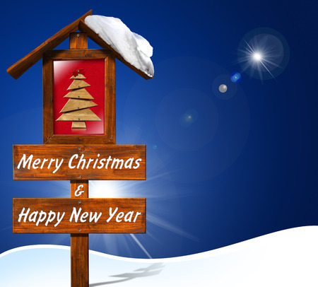 Wooden signboard with text 'Merry Christmas and Happy New Year', a small wooden stylized christmas tree, sky and snow   photo