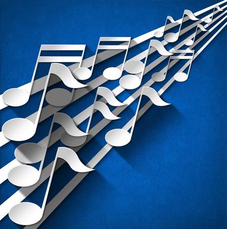note musicali: Note musicali bianchi e grigi e pentagramma su sfondo di velluto blu con le ombre