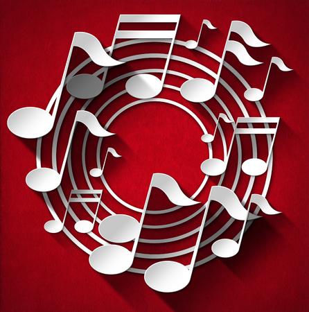 note musicali: Note musicali bianchi e grigi e pentagramma sul velluto sfondo rosso con ombre