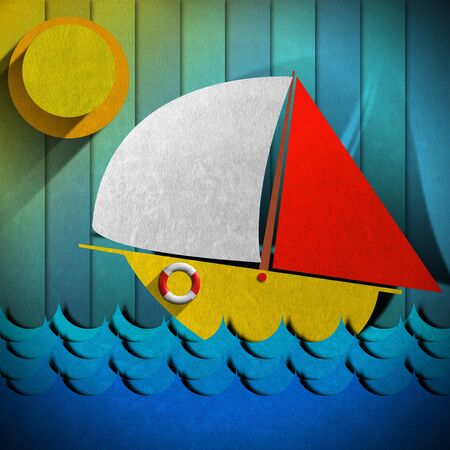 Stylized seascape with sailboat, waves, sky and sun - Drawing with colored fabric photo