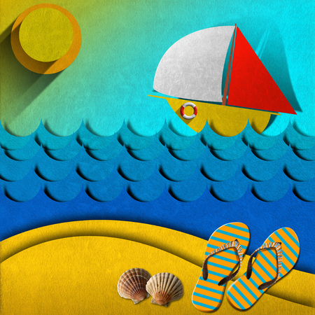 Stylized seascape with sailboat, waves, sky, sun, flip flops and seashells - Drawing with colored fabric  photo