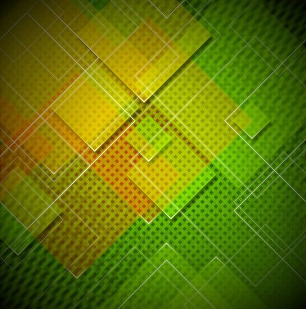 disordered: Green, yellow and orange abstract background with squares shapes