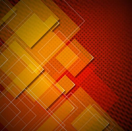 disordered: Red, yellow and orange abstract background with squares shapes
