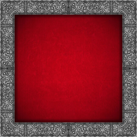 Red velvet texture background with silver floral frame - Luxury background Stock Photo - 24492649