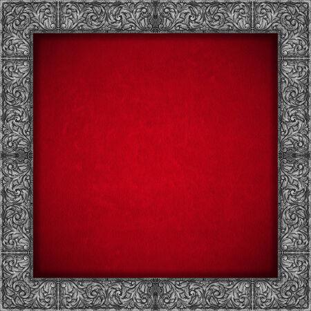 velvet texture: Velluto rosso texture di sfondo con argento cornice floreale - Luxury sfondo Archivio Fotografico