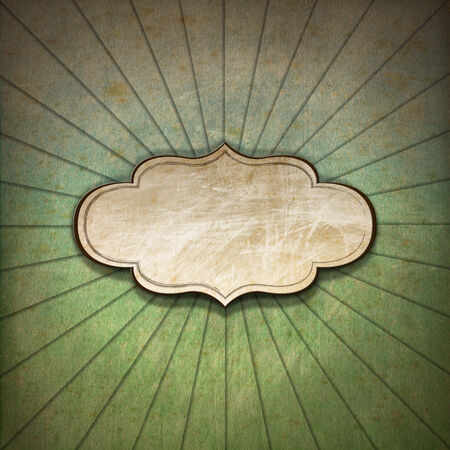 spoiled frame: Vintage background with green, blue and brown pastel colors, sunbeams stripes and blank label