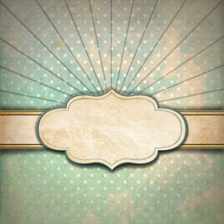 Vintage background with green, blue and brown pastel colors, sunbeams stripes and blank label photo