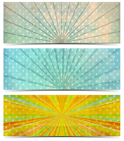 Set of three vintage banners with sunbeams stripes and white dots  photo