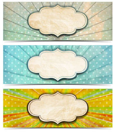 Set of three vintage banners with sunbeams stripes, white dots and central blank label photo